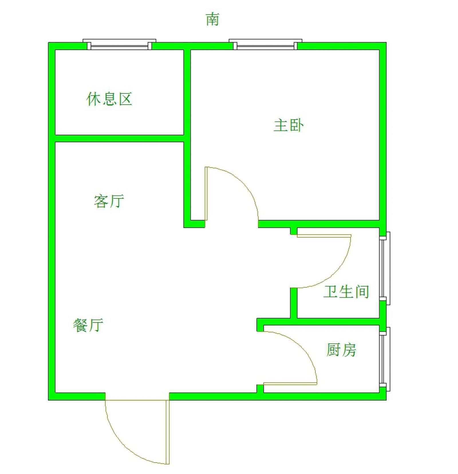 亿达蓝湾 1室2厅57㎡